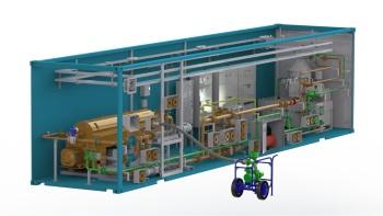 Одноконтейнерная установка для сепарации сточных вод непосредственно из амбара без предварительного подогрева с доочисткой на сепараторе. Уличное исполнение